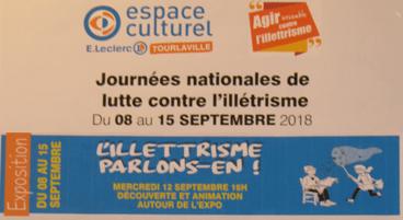 """Exposition """"L'illettrisme, parlons-en !""""       Espace culturel E. Leclerc – TOURLAVILLE (50)"""